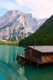 Lac de Braies sur les dolomites, Italie Image stock