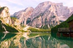 Lac de Braies sur les dolomites, Italie Images stock