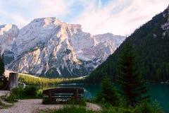 Lac de Braies sur les dolomites, Italie Images libres de droits