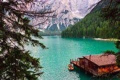 Lac de Braies sur les dolomites, Italie Photo libre de droits