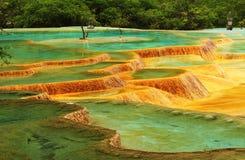 Lac de couleur de Huanglong cinq Photographie stock libre de droits
