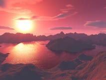 lac de crépuscule plus de Image libre de droits