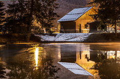 Lac De Gailand, Chamonix Mont Blanc, France. Night view of Les Pelerins train station, reflected in the waters of Lac de Gailland, in Chamonix Mont Blanc Royalty Free Stock Photos