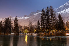Lac De Gailand, Chamonix Mont Blanc, France. Night view of  Lac de Gailland, in Chamonix Mont Blanc, with the French Alps in the background. Chamonix Mont Blanc Royalty Free Stock Image
