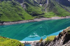 Artificial Lac de Grand-Maison, french Rhone-Alpes royalty free stock photos