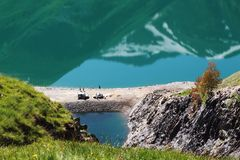 Artificial Grand-Maison Lake in the french Rhone-Alpes. Lac de Grand Maison is a lake in Isere, France at an elevation of 1698 m, created by the Grand`Maison Dam royalty free stock photos