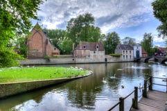 Lac de l'amour et des cygnes, Bruges, Belgique Images libres de droits