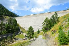 Lac de l`Oule dam. French Pyrenees. Royalty Free Stock Image