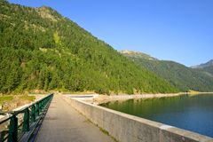 Lac de l`Oule dam in French Pyrenees. Lac de l`Oule dam in Neouvielle national nature reserve. French Pyrenees royalty free stock photo
