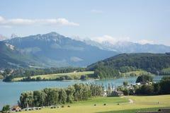 Lac de la Gruyère Lake von Gruyère in der Schweiz Lizenzfreies Stockbild