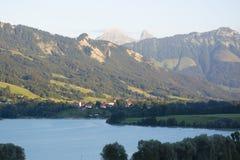 Lac de la Gruyère Lake of Gruyère in Switzerland Royalty Free Stock Photos