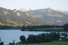 Lac de la Gruyère Lake of Gruyère in Switzerland Stock Photo