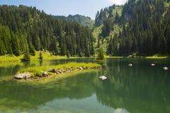 Lac de la Mouille, lago nella regione di Haute Savoie, Francia Immagini Stock