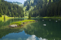 Lac de la Mouille, lake in Haute-Savoie region ,France. Stock Photos
