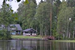 Lac de maison d'été de la Finlande Images libres de droits