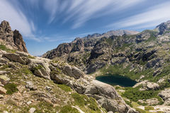 Lac de Melo above Restonica valley in Corsica Royalty Free Stock Photography
