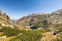 Lac de Melo above Restonica valley in Corsica Royalty Free Stock Images