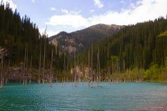 Lac de montagne de Kaindy dans Kazakhstan image stock