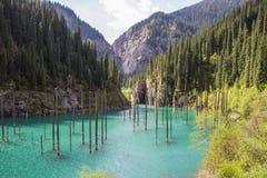 Lac de montagne de Kolsay dans Kazakhstan Photo stock