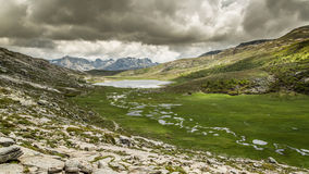 Lac De Nino in Corsica with  mountains in the background Royalty Free Stock Images