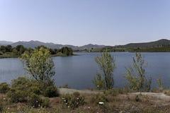 Lac de Padula (lac Padula) près du village de montagne Oletta dans la région de Nebbio, Corse du nord, France Images stock