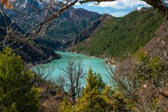 Lac de Sainte-Croix上普罗旺斯阿尔卑斯省 免版税库存图片