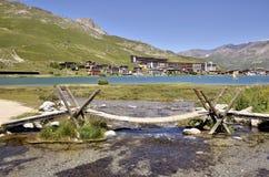 Lac de Tignes dans les Frances Photo stock