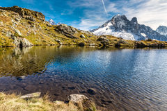 Lac des Cheserys And Aiguille Verte- France Stock Photo