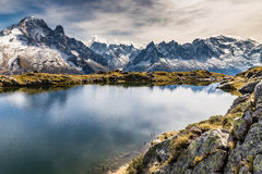 Lac des Cheserys And Aiguille Verte- France Stock Images
