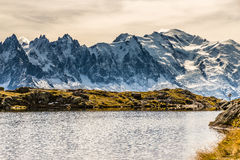 Lac des Cheserys And Mont Blanc - France. View Of Lac des Cheserys And Mountain Range With Mont Blanc-France Royalty Free Stock Photos