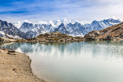 Lac des Cheserys And Mont Blanc - France. View Of Lac des Cheserys And Mountain Range With Mont Blanc-France Stock Photography