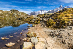 Lac des Cheserys And Mountain Range - France Stock Photography