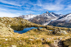 Lac des Cheserys And Mountain Range - France Stock Images