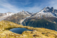 Lac des Cheserys And Mountain Range - France Royalty Free Stock Photos
