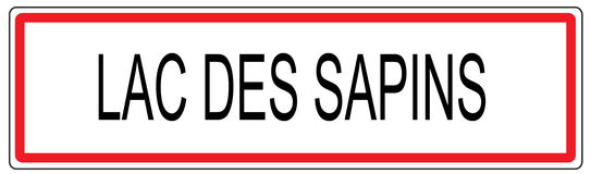 Lac des Sapins city traffic sign illustration in France Stock Photography