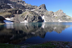 Lac du domenon in the french alps stock photography