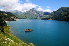 Lac du Roselend. The dam in Savoy Alps in France Stock Photos