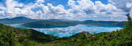 Lac du Sainte-Croix Panorama. Lac du Sainte-Croix in the south of France Royalty Free Stock Photo