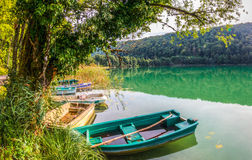 Lac du Val, Jura, France - Boats Stock Image