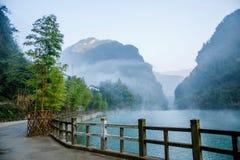 Lac en bambou de l'eau sainte de mer de Hubei Zigui Three Gorges Photographie stock libre de droits