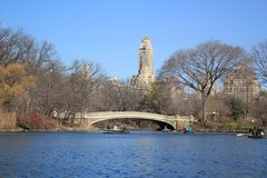 Lac en parc central New York Photographie stock
