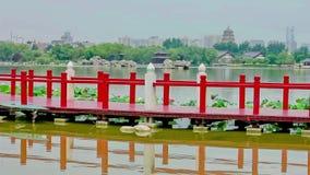 Lac en parc chinois, Xi'an, Shaanxi, Chine banque de vidéos
