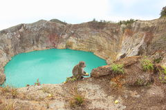Lac enchanté ou enchanté, lacs crater de Kelimutu photographie stock libre de droits