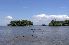 Lac et îles Photographie stock