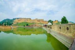 Lac et Amber Fort Maota à Jaipur, Ràjasthàn, Inde Photographie stock libre de droits