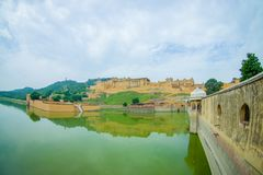 Lac et Amber Fort Maota à Jaipur, Ràjasthàn, Inde Photographie stock
