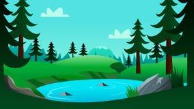Lac et Forest Cartoon Background Scene illustration stock