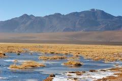 Lac figé dans Atacama Altiplano, Chili Image libre de droits
