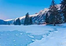 Lac figé en hiver Photos libres de droits