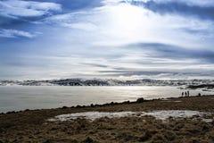 Lac figé en Islande photographie stock
